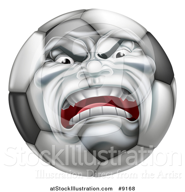 Vector Illustration of a Furious Soccer Ball Character Mascot