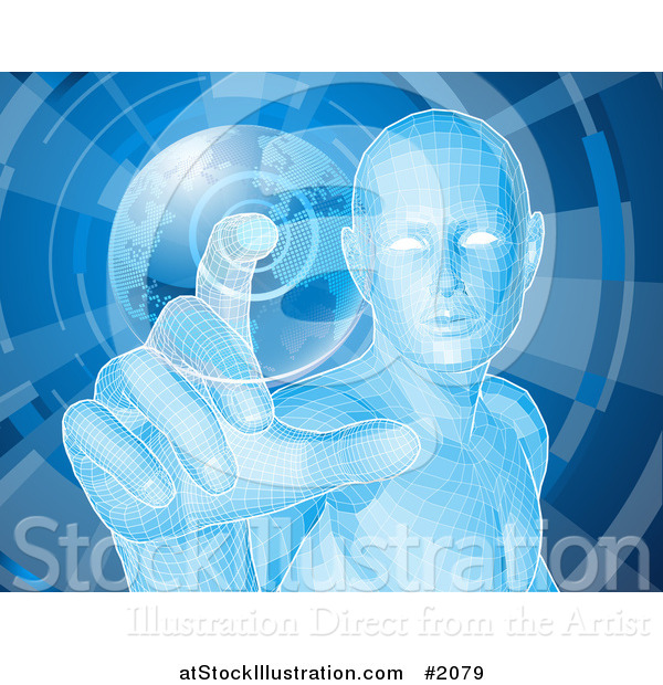 Vector Illustration of a Futuristic Blue Person Pushing a Globe Button