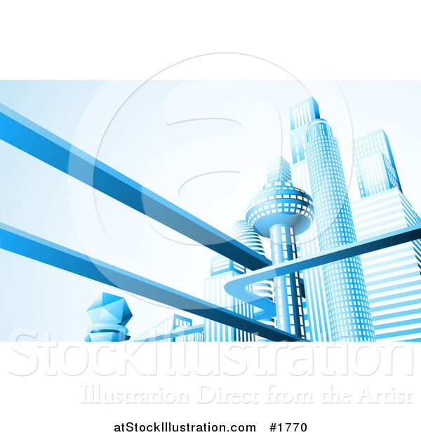 Vector Illustration of a Futuristic City Skyline with Skyscrapers and Floating Roads in Blue Tones