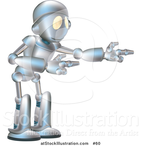 Vector Illustration of a Futuristic Robot Gesturing with Both Arms