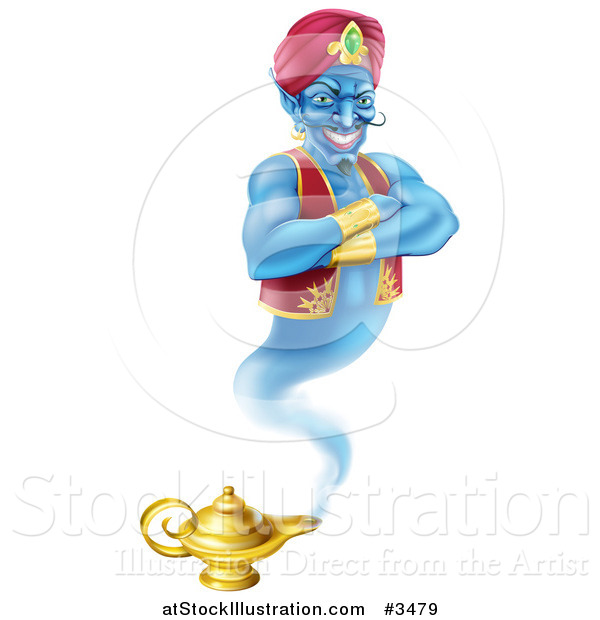 Vector Illustration of a Genie Emerging from His Lamp