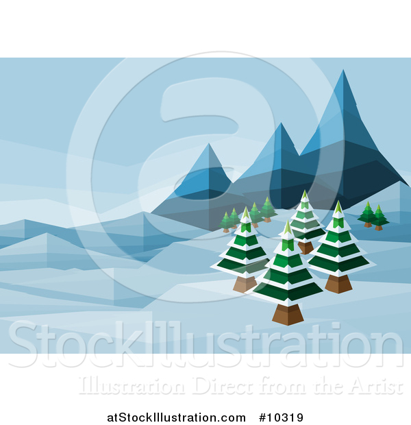 Vector Illustration of a Geometric Polygon Styled Winter Landscape with Mountains and Evergreen Trees