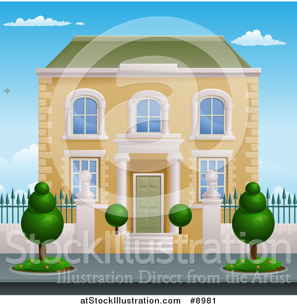 Vector Illustration of a Georgian or Victorian House with Topiary Plants