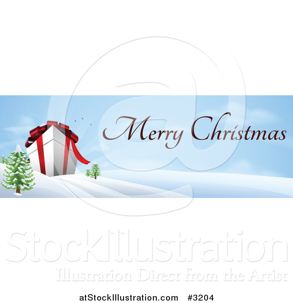 Vector Illustration of a Giant 3d Gift Box in a Winter Landscape with Merry Christmas Text