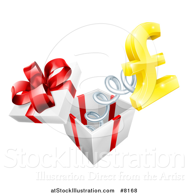 Vector Illustration of a Gift Box with a Lira Currency Symbol Springing out