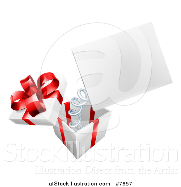 Vector Illustration of a Gift Box with a Springy Sign