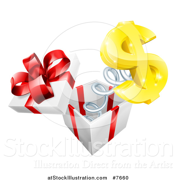 Vector Illustration of a Gift Box with a Springy Usd Currency Symbol