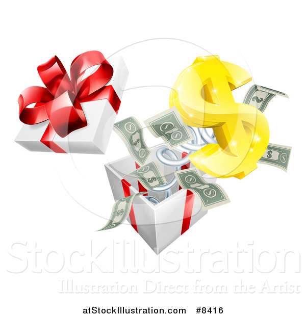 Vector Illustration of a Gift Box with a USD Symbol and Cash Money Springing out