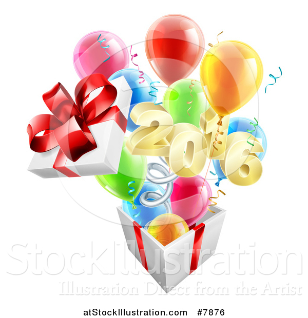 Vector Illustration of a Gift on a Spring, with Party Balloons