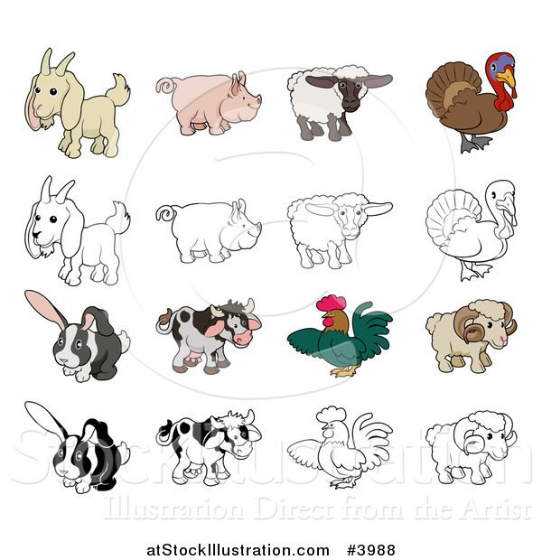 Vector Illustration of a Goat Pig Sheep Turkey Rabbit Cow Rooster and Ram in Color and Black and White