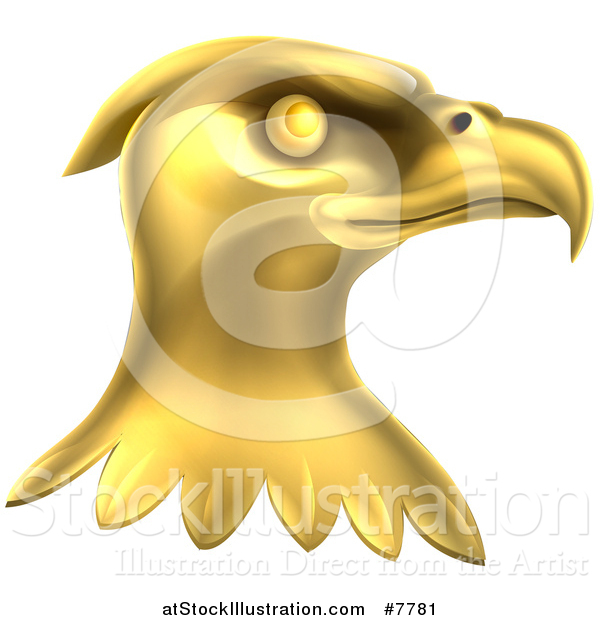 Vector Illustration of a Gold Bald Eagle Head