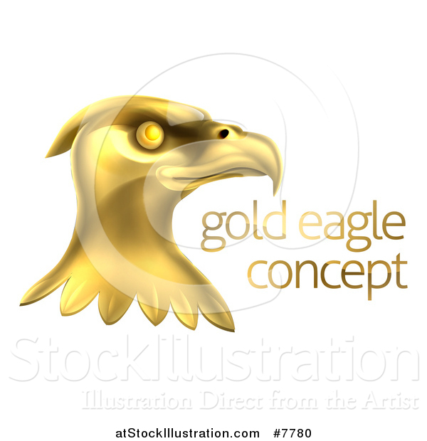 Vector Illustration of a Gold Bald Eagle Head with Sample Text