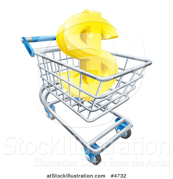 Vector Illustration of a Gold Dollar Symbol in a Shopping Cart