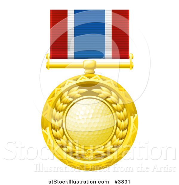 Vector Illustration of a Gold Golf Ball Medal on a Ribbon