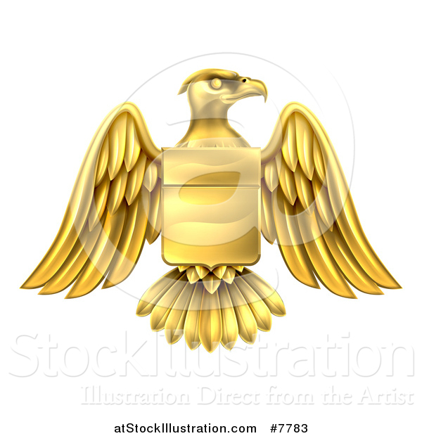 Vector Illustration of a Gold Heraldic Coat of Arms Eagle with a Shield