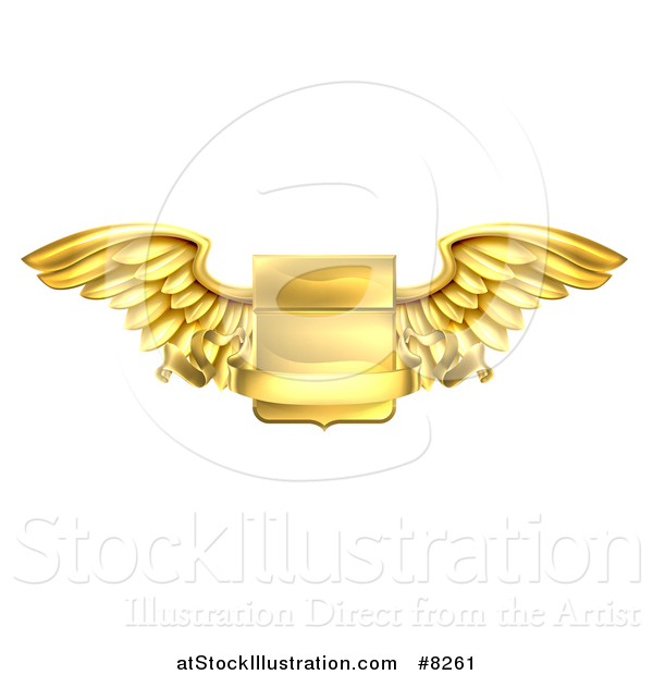 Vector Illustration of a Gold Heraldic Winged Shield with a Blank Banner Ribbon