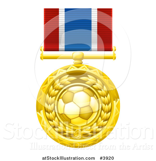 Vector Illustration of a Gold Soccer Ball Medal on a Ribbon