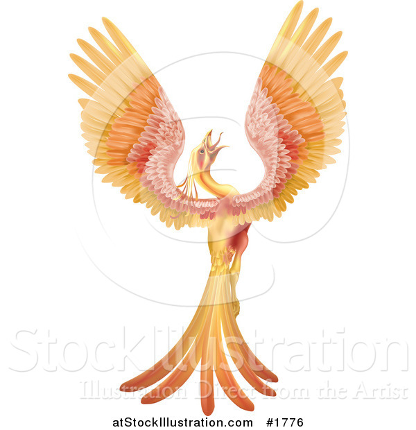 Vector Illustration of a Golden and Red Phoenix Bird Crowing and Stretching Its Wings