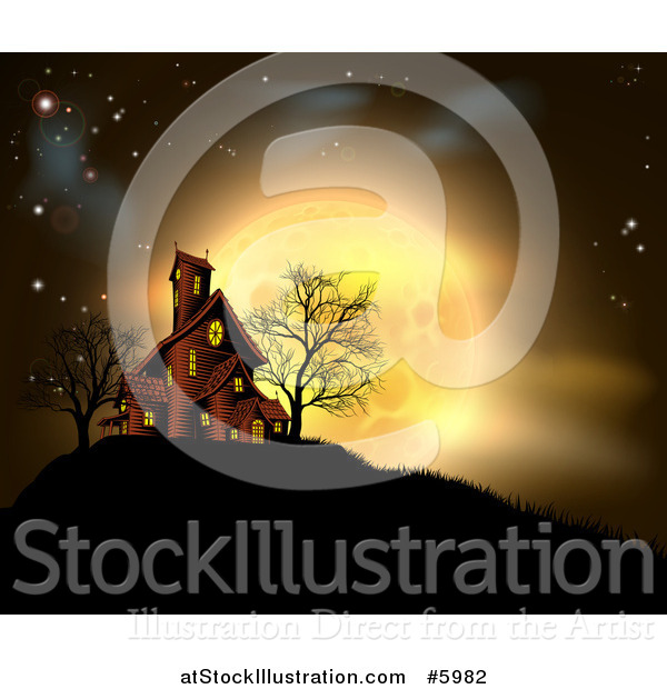 Vector Illustration of a Golden Full Moon Behind a Haunted House on a Hill