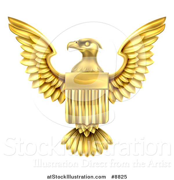 Vector Illustration of a Golden Heraldic American Coat of Arms Eagle with a Shield
