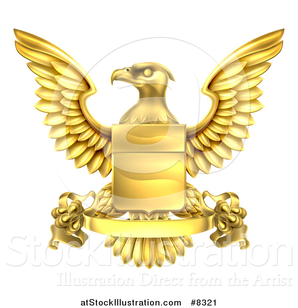 Vector Illustration of a Golden Heraldic Coat of Arms Eagle with a Shield and Banner Scroll