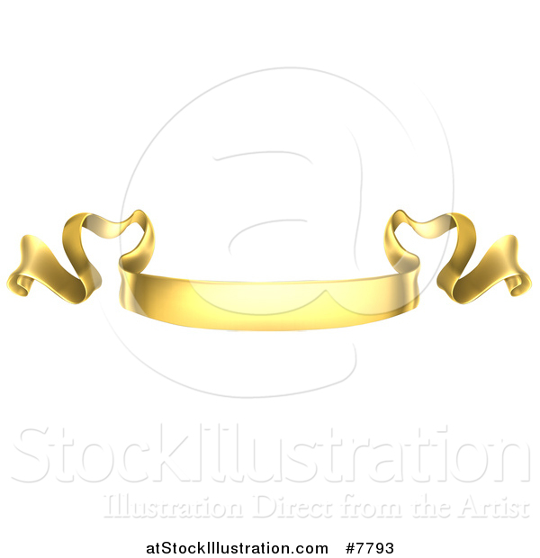Vector Illustration of a Golden Scroll Ribbon Banner