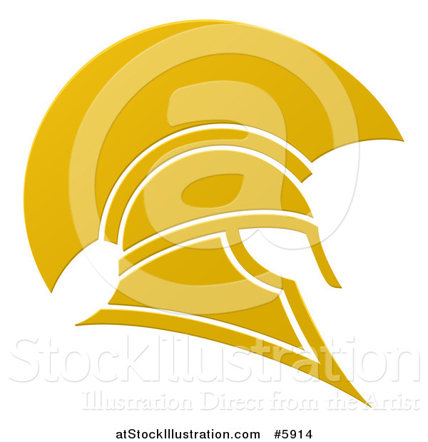 Vector Illustration of a Golden Spartan Trojan Helmet
