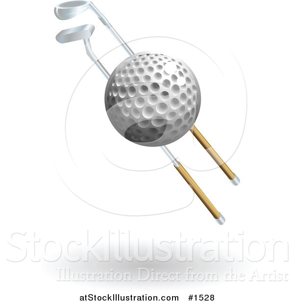 Vector Illustration of a Golf Ball and Two Golf Clubs