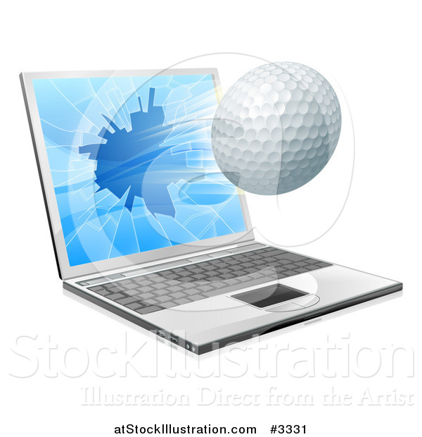 Vector Illustration of a Golf Ball Flying Through and Shattering a 3d Laptop Screen