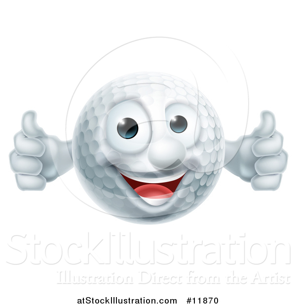 Vector Illustration of a Golf Ball Mascot Giving Two Thumbs up