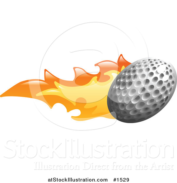Vector Illustration of a Golf Ball on Fire
