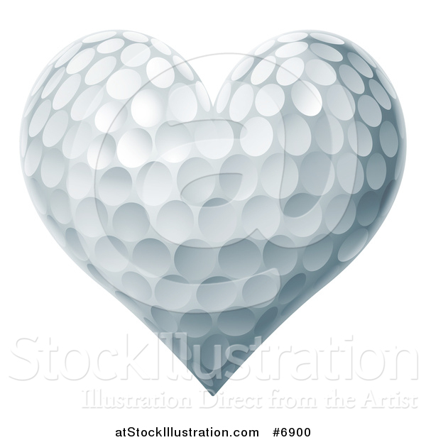 Vector Illustration of a Golf Ball Textured Heart