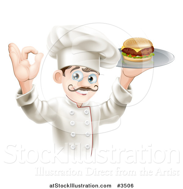 Vector Illustration of a Gourmet Chef Serving a Cheeseburger and Gesturing Ok