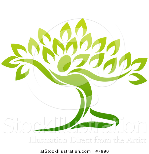 Vector Illustration of a Graceful Gradient Green Tree Man