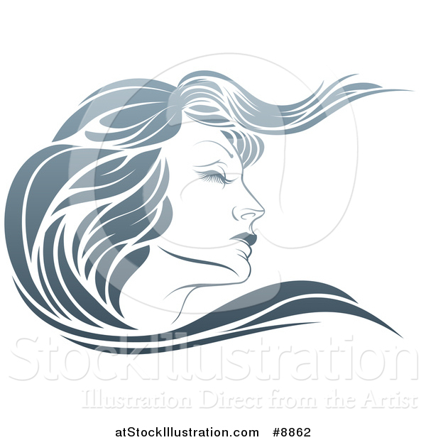 Vector Illustration of a Gradient Beatiful Woman's Face in Profile, with Long Hair Waving