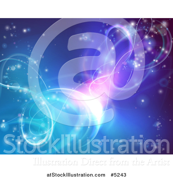 Vector Illustration of a Gradient Blue and Purple Background with Twirling Lights and Stars
