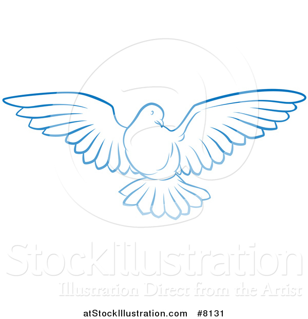 Vector Illustration of a Gradient Blue Dove Flying