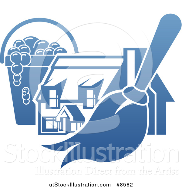 Vector Illustration of a Gradient Blue House with a Cleaning Bucket and Mop or Duster