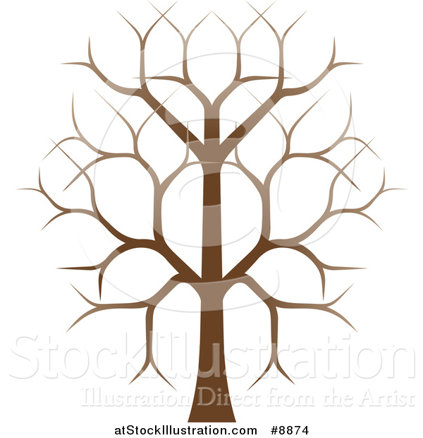 Vector Illustration of a Gradient Brown Bare Tree
