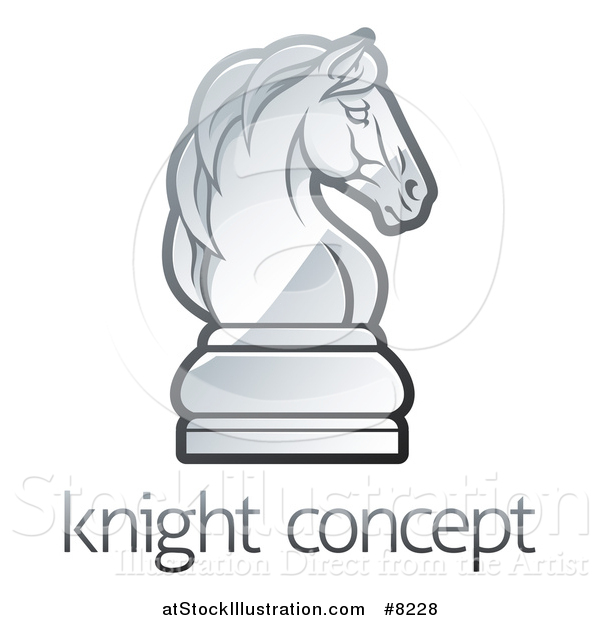 Vector Illustration of a Gradient Chess Knight Piece over Sample Text