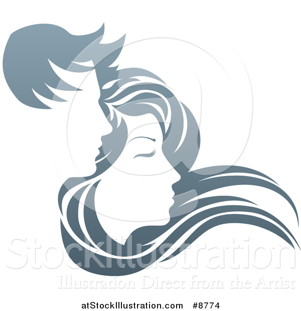 Vector Illustration of a Gradient Couple, with Long Hair Waving in the Wind