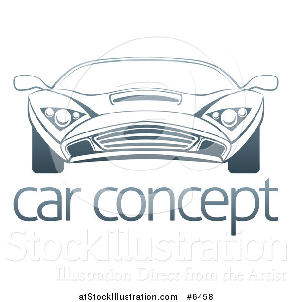 Vector Illustration of a Gradient Dark Blue Sports Car over Sample Text