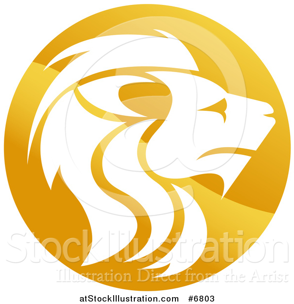 Vector Illustration of a Gradient Golden Male Lion Head Circle