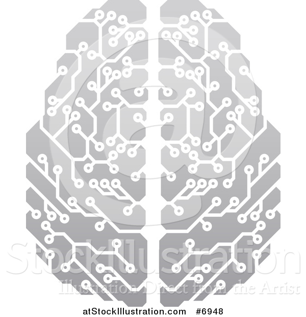 Vector Illustration of a Gradient Gray Circuit Board Artificial Intelligence Computer Chip Brain