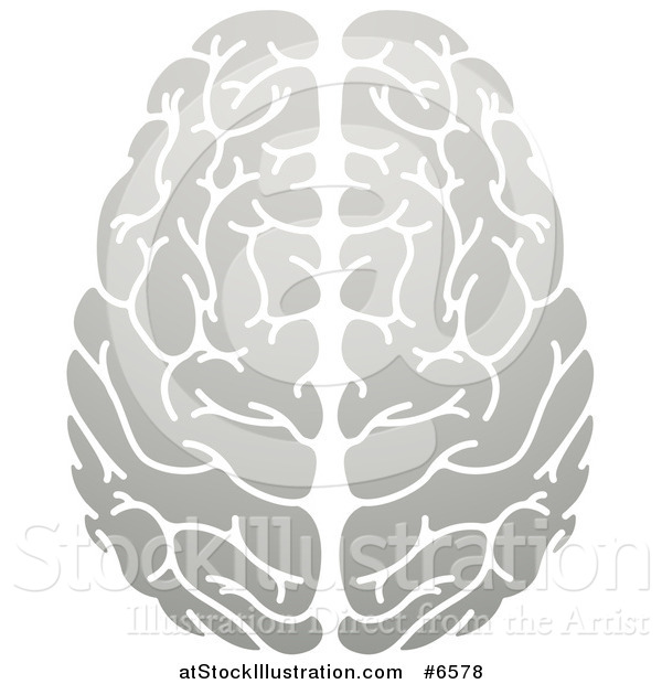 Vector Illustration of a Gradient Grayscale Human Brain