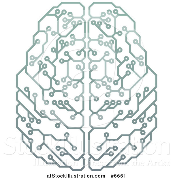 Vector Illustration of a Gradient Green Artificial Intelligence Circuit Board Brain