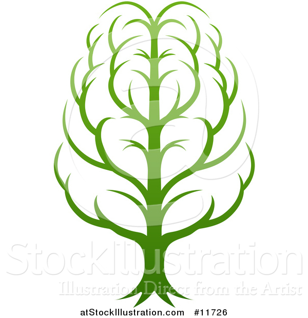 Vector Illustration of a Gradient Green Brain Tree