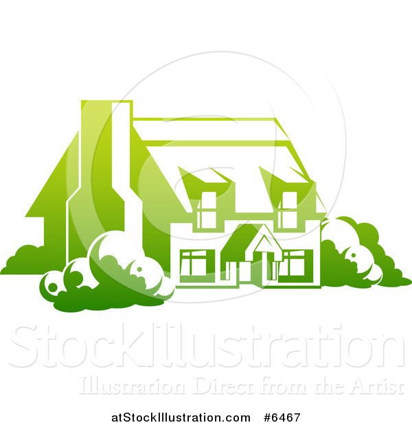 Vector Illustration of a Gradient Green Country Cottage House
