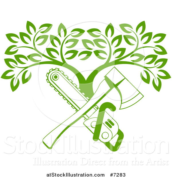 Vector Illustration of a Gradient Green Crossed Chainsaw and Axe and a Tree