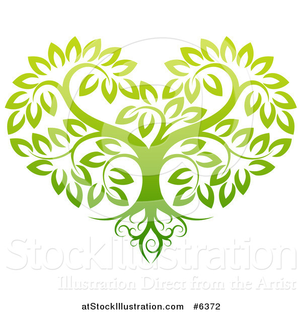 Vector Illustration of a Gradient Green Heart Shaped Tree with Roots and Leafy Branches